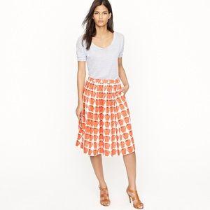 J Crew Pleated Jardin Apple Print skirt sz 0